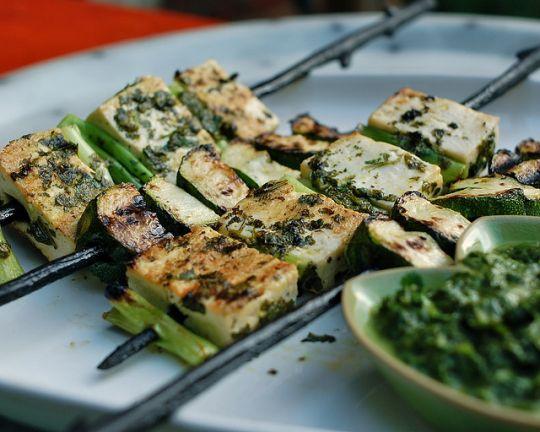 Рецепт Тофу-кебаб с соусом из кинзы