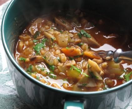 Рецепт Гречневый суп с шампиньонами на квасе