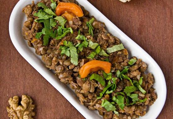Рецепт Закуска из чечевицы с курагой и грецкими орехами (Мшош)