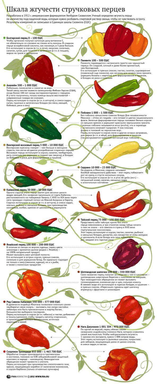 Таблица «жгучести перцев» (шкала Сковилла)