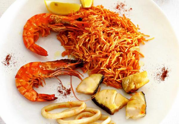 Рецепт Испанские тонкие макароны с морепродуктами (Фидеуа)