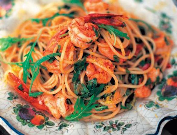 Рецепт Паста с креветками и помидорами
