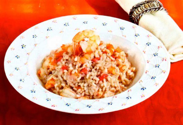 Рецепт Ризотто с креветками и клубникой