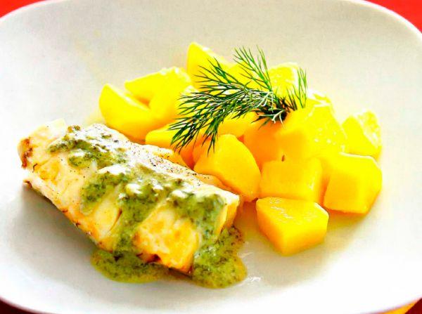 Рецепт Филе трески на пару под щавелевым соусом