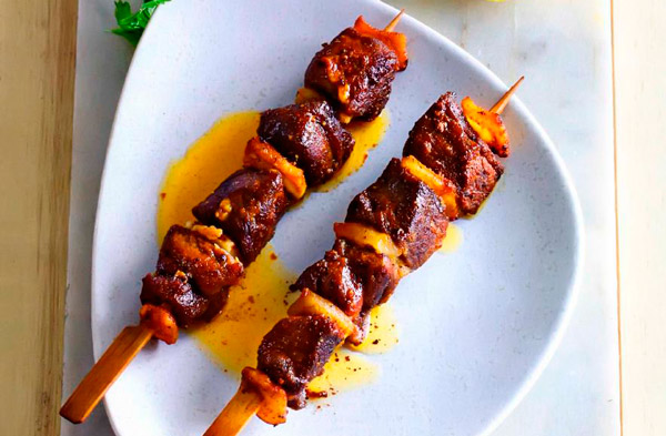 Рецепт Греческий бараний шашлык на шпажках (Сувлаки)