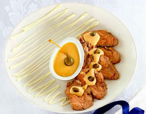 Рецепт Закуска из телятины с соусом из тунца (Вителло тоннато)