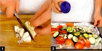 Запеченый суп из овощей с жареной рыбой