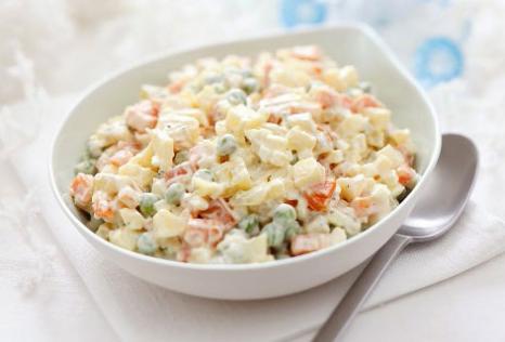 Рецепт Русский салат Оливье с колбасой. Приготовление   блюда