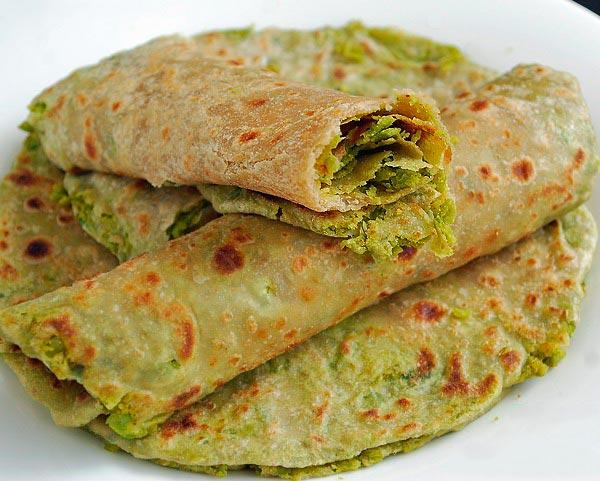Рецепт Индийские лепешки Парата с зеленым горошком