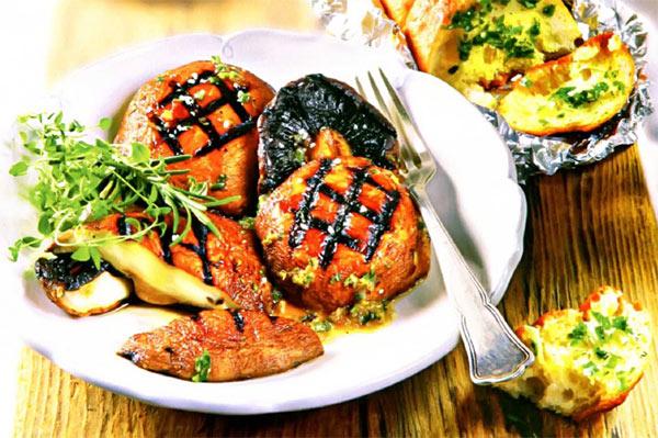 Рецепт Грибы шампиньоны портобелло на гриле. Приготовление   блюда