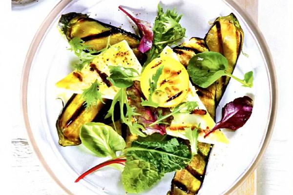 Рецепт Теплый салат из баклажанов с сыром на гриле