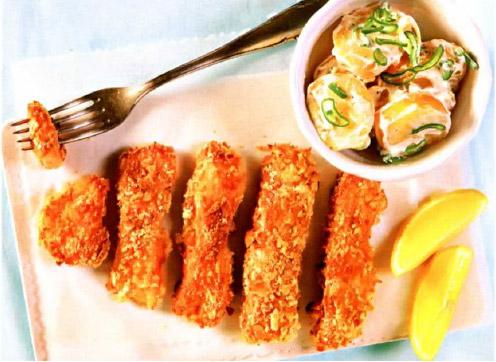 Рецепт Хрустящие рыбные палочки с картофельным салатом