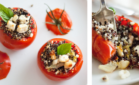 Рецепт Запеченные сырные фаршированные помидоры киноа в духовке
