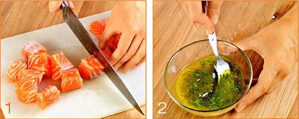 Шашлык из семги c овощами и маринадом на решётке