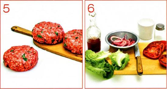 Домашний гамбургер и приготовление булочек для гамбургеров