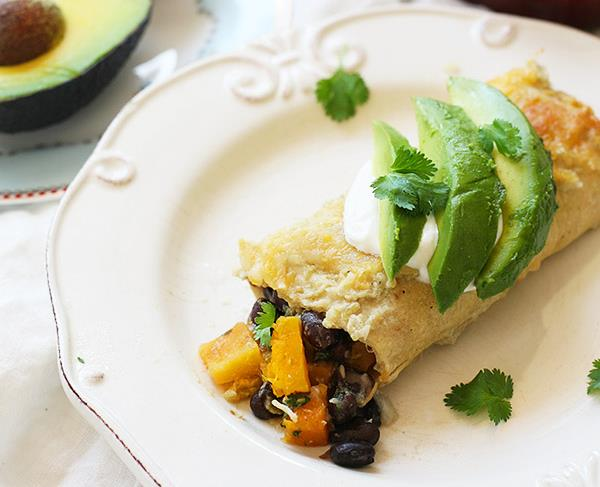 Рецепт Мексиканские энчиладос с черной фасолью и тыквой