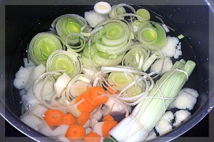 Французский суп пюре из цветной капусты с луком пореем и картофелем