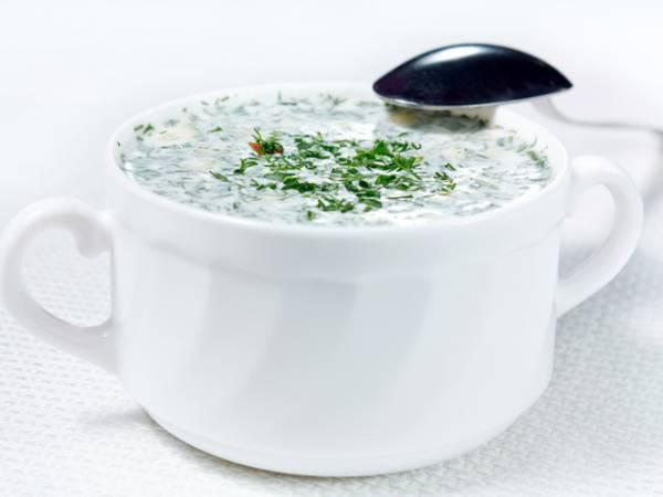 Рецепт Окрошка на айране из зелени