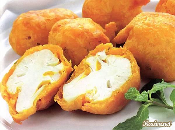 Рецепт Цветная капуста в кляре с сыром и яйцом