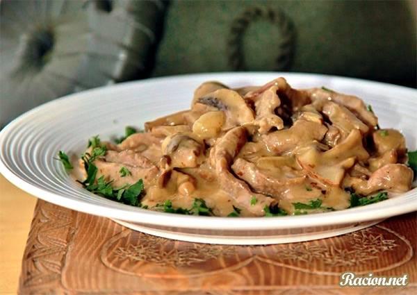 Рецепт Вкусная телятина с грибами по цюрихски