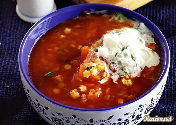 Рецепт Суп из помидоров и мелкой пасты