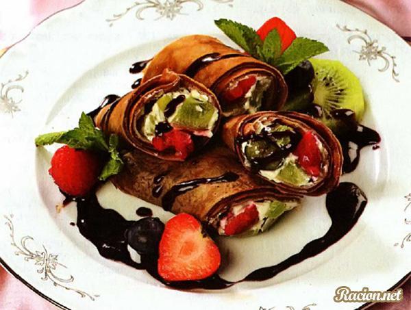 Рецепт Десертные блинчики с киви и ягодами