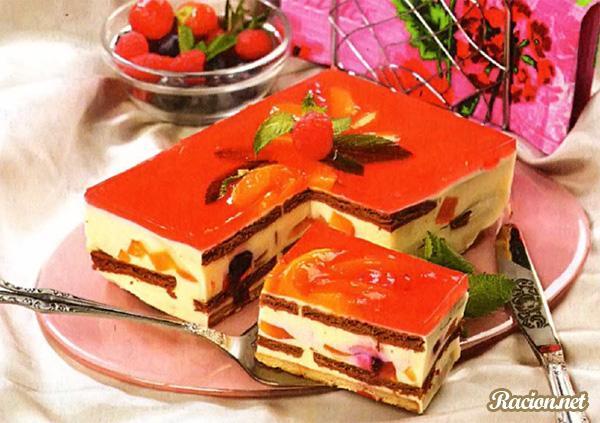 Рецепт Желейный торт с персиками и вишней