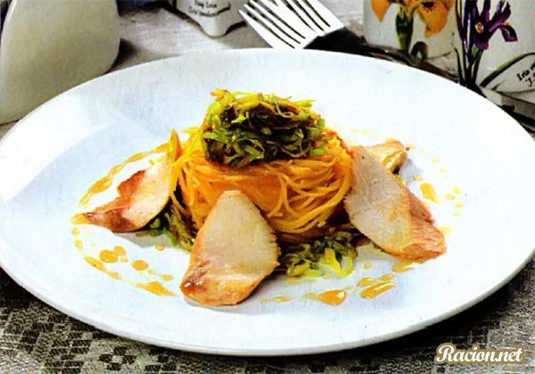 Рецепт Куриное филе с гнездами из лапши