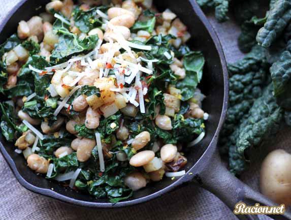 Рецепт Жареный картофель с фасолью и капустой кале