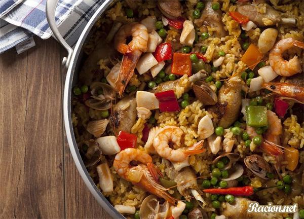Рецепт Паэлья с курицей и морепродуктами