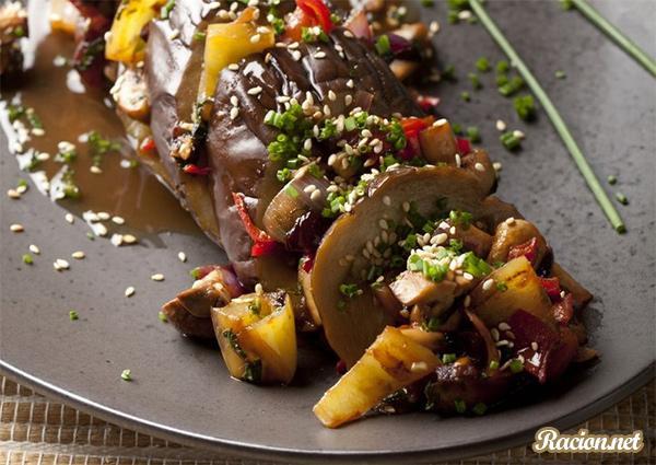 Рецепт Баклажан с овощами в азиатском стиле
