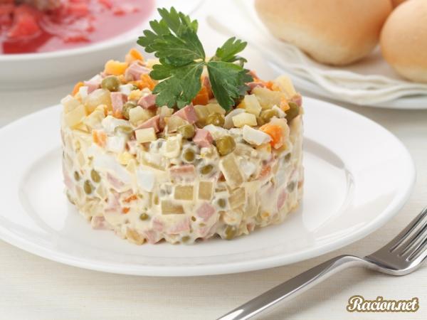 Рецепт Русский салат Оливье с колбасой