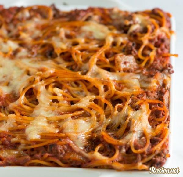 Рецепт Запеченные спагетти болоньезе