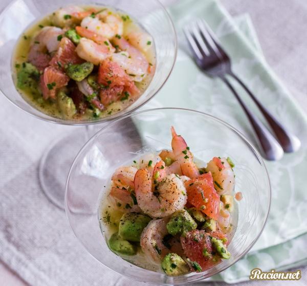 Рецепт Салат с авокадо и креветками