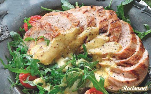 Рецепт Тальята из курицы с медово-горчичным соусом