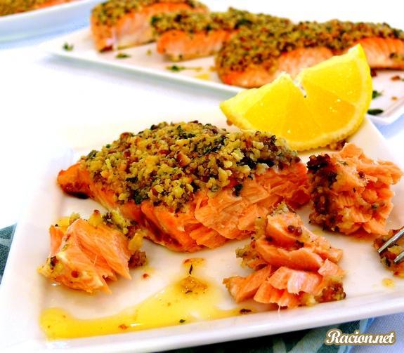 Рецепт Запеченный лосось с лимоном и хлебной корочкой